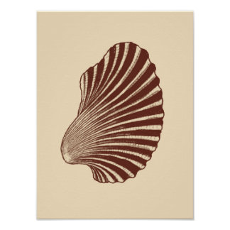Scallop Shell Block Print, Brown and Beige Poster
