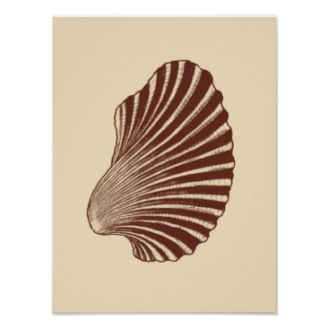 Beach Themed Scallop Shell Block Print, Brown and Beige Poster