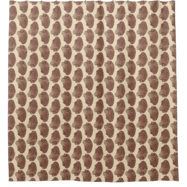 Beach Themed Scallop Shell Block Print, Brown and Beige Shower Curtain