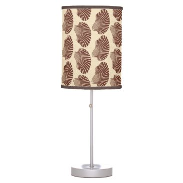 Beach Themed Scallop Shell Block Print, Brown and Beige Table Lamp