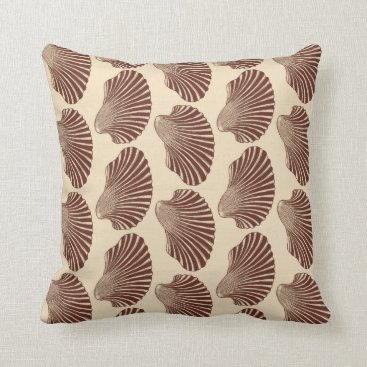 Beach Themed Scallop Shell Block Print, Brown and Beige Throw Pillow