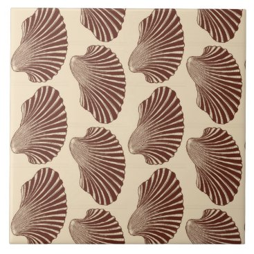 Beach Themed Scallop Shell Block Print, Brown and Beige Tile