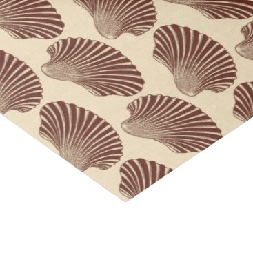 Beach Themed Scallop Shell Block Print, Brown and Beige Tissue Paper