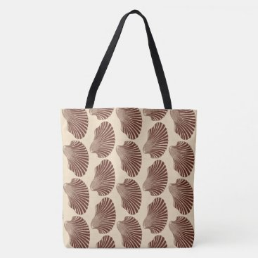 Beach Themed Scallop Shell Block Print, Brown and Beige Tote Bag