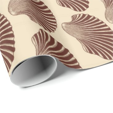 Beach Themed Scallop Shell Block Print, Brown and Beige Wrapping Paper