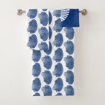 Beach Themed Scallop Shell Block Print, Cobalt Blue and White Bath Towel Set
