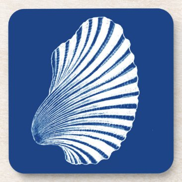 Beach Themed Scallop Shell Block Print, Cobalt Blue and White Drink Coaster
