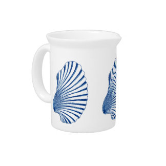 Scallop Shell Block Print, Cobalt Blue and White Drink Pitcher