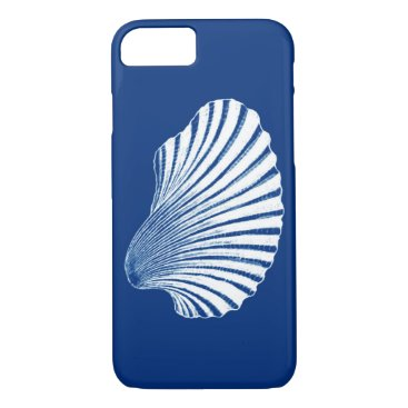 Beach Themed Scallop Shell Block Print, Cobalt Blue and White iPhone 7 Case