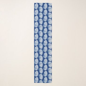 Beach Themed Scallop Shell Block Print, Cobalt Blue and White Scarf