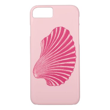Beach Themed Scallop Shell Block Print, Fuchsia and Pale Pink iPhone 7 Case