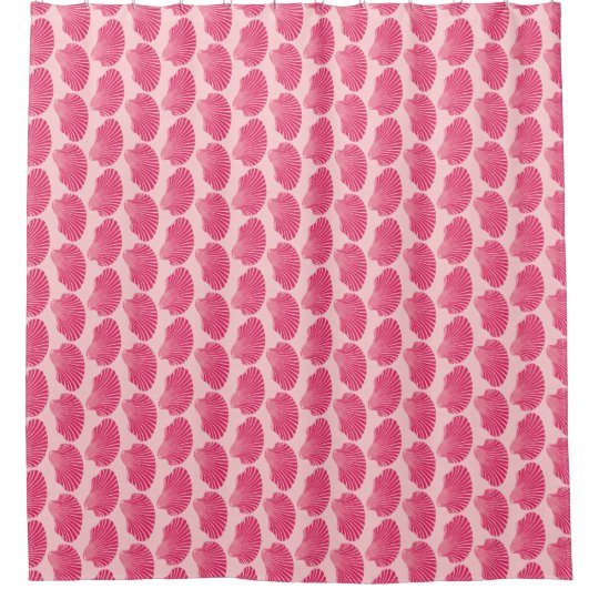 Scallop Shell Block Print Fuchsia And Pale Pink Shower Curtain