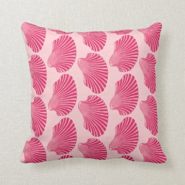 Beach Themed Scallop Shell Block Print, Fuchsia and Pale Pink Throw Pillow