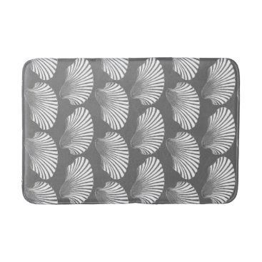 Beach Themed Scallop Shell Block Print, Gray / Grey and White Bathroom Mat