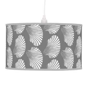 Beach Themed Scallop Shell Block Print, Gray / Grey and White Ceiling Lamp