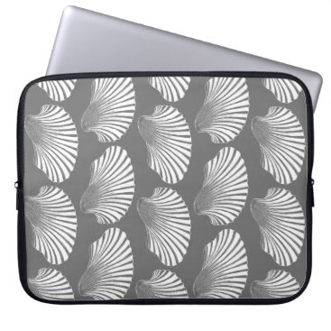Beach Themed Scallop Shell Block Print, Gray / Grey and White Computer Sleeve