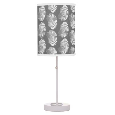 Beach Themed Scallop Shell Block Print, Gray / Grey and White Desk Lamp