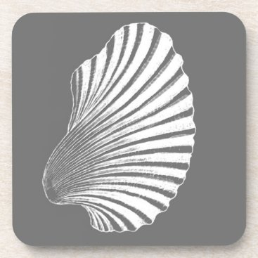 Beach Themed Scallop Shell Block Print, Gray / Grey and White Drink Coaster