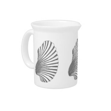 Beach Themed Scallop Shell Block Print, Gray / Grey and White Drink Pitcher