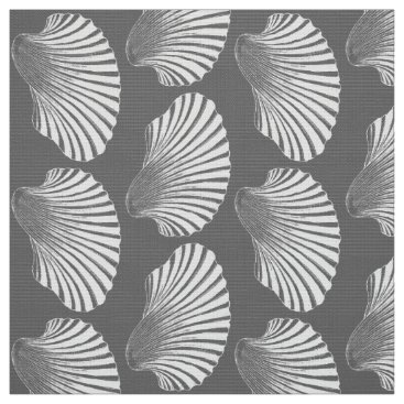 Beach Themed Scallop Shell Block Print, Gray / Grey and White Fabric