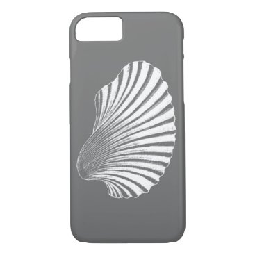 Beach Themed Scallop Shell Block Print, Gray / Grey and White iPhone 7 Case