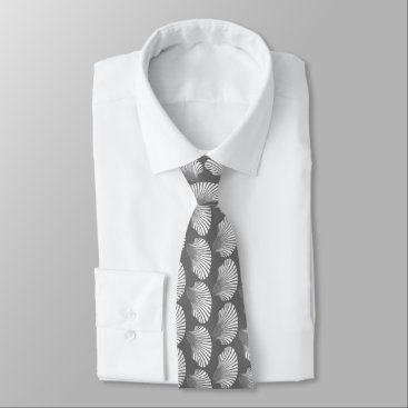 Beach Themed Scallop Shell Block Print, Gray / Grey and White Neck Tie