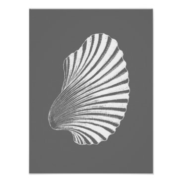 Beach Themed Scallop Shell Block Print, Gray / Grey and White Poster
