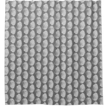 Beach Themed Scallop Shell Block Print, Gray / Grey and White Shower Curtain