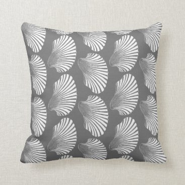 Beach Themed Scallop Shell Block Print, Gray / Grey and White Throw Pillow