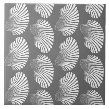 Beach Themed Scallop Shell Block Print, Gray / Grey and White Tile