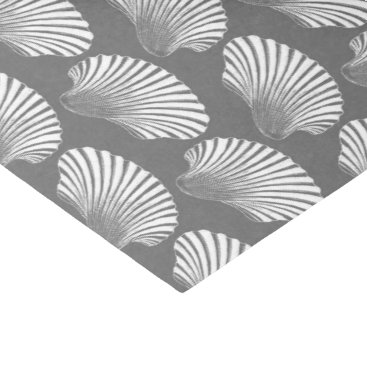 Beach Themed Scallop Shell Block Print, Gray / Grey and White Tissue Paper