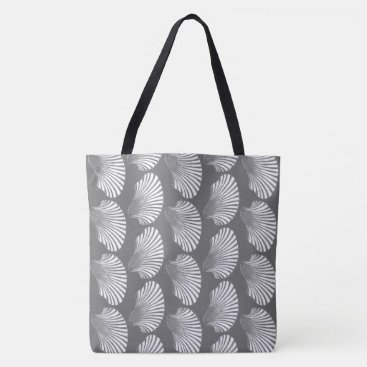 Beach Themed Scallop Shell Block Print, Gray / Grey and White Tote Bag