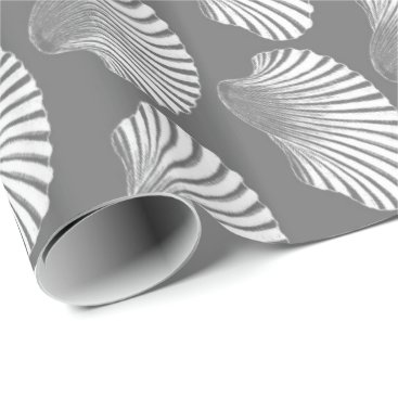 Beach Themed Scallop Shell Block Print, Gray / Grey and White Wrapping Paper