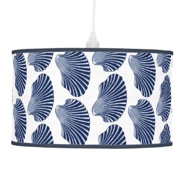 Beach Themed Scallop Shell Block Print, Indigo and White Ceiling Lamp