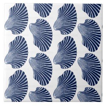 Beach Themed Scallop Shell Block Print, Indigo and White Ceramic Tile