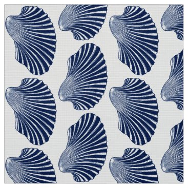 Beach Themed Scallop Shell Block Print, Indigo and White Fabric