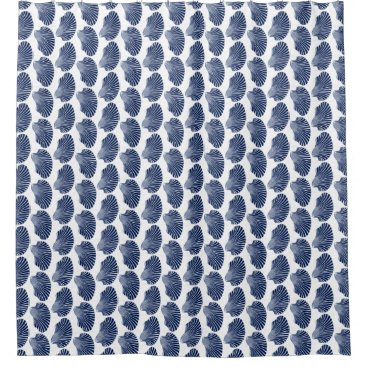Scallop Shell Block Print, Indigo and White Shower Curtain