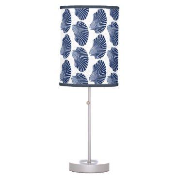 Beach Themed Scallop Shell Block Print, Indigo and White Table Lamp