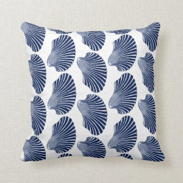 Beach Themed Scallop Shell Block Print, Indigo and White Throw Pillow