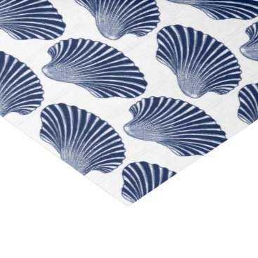Beach Themed Scallop Shell Block Print, Indigo and White Tissue Paper
