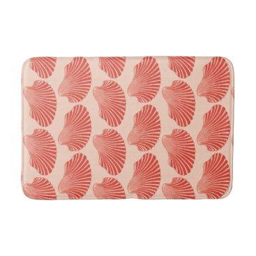 Beach Themed Scallop Shell Block Print, Light Coral Orange Bathroom Mat