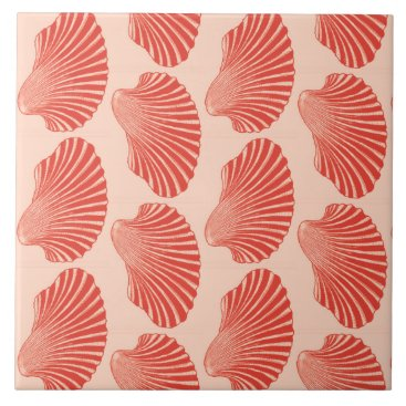 Beach Themed Scallop Shell Block Print, Light Coral Orange Ceramic Tile