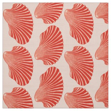 Beach Themed Scallop Shell Block Print, Light Coral Orange Fabric