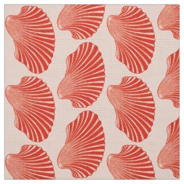 Beach Themed Scallop Shell Block Print, Light Coral Orange Fabric