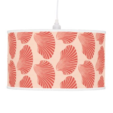 Beach Themed Scallop Shell Block Print, Light Coral Orange Hanging Lamp