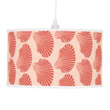 Beach Themed Scallop Shell Block Print, Light Coral Orange Hanging Lamp