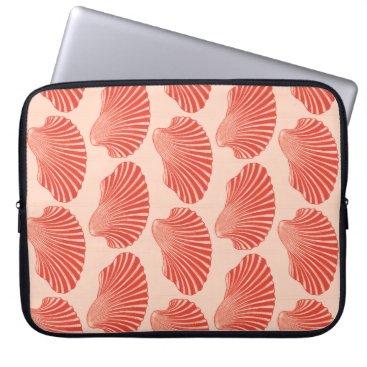 Beach Themed Scallop Shell Block Print, Light Coral Orange Laptop Sleeve