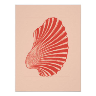 Scallop Shell Block Print, Light Coral Orange Poster