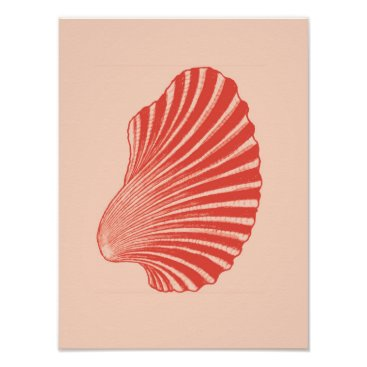 Beach Themed Scallop Shell Block Print, Light Coral Orange Poster