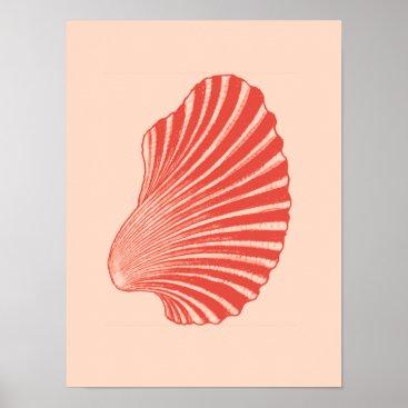 Beach Themed Scallop Shell Block Print, Light Coral Orange Poster